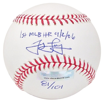 James Loney Autograph Baseball w/1st HR inscrip(Near Mint)(DACW COA)