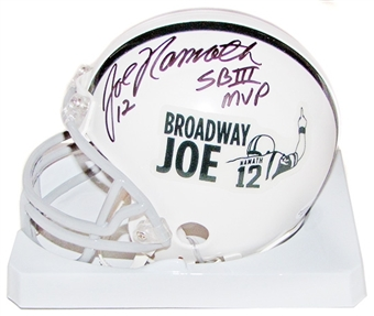 Joe Namath Autographed Broadway Joe Exclusive Football Mini Helmet