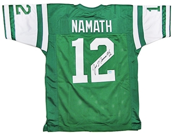 Joe Namath Autographed New York Jets Green Jersey