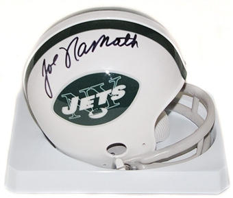 Joe Namath Autographed New York Jets Throwback Mini Helmet (Gridiron)