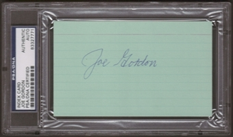 Joe Gordon Autograph (Index Card) PSA/DNA Certified *7771