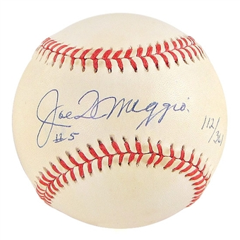 Joe DiMaggio Autographed Official American League Baseball (JSA COA) #112/361