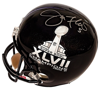 Joe Flacco Autographed Baltimore Ravens Full Size Super Bowl XLVII Helmet (Mounted Mem)