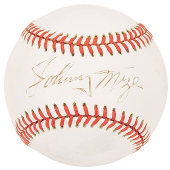 Johnny Mize Autographed American League MLB Baseball (JSA COA)