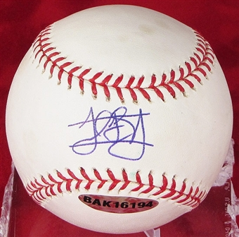 Jordan Schafer Autographed Baseball (Stained) (UDA COA)