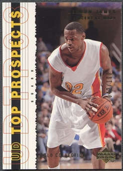 2003/04 UD Top Prospects #60 LeBron James Gold Collection Rookie #042/100