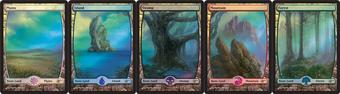 Magic the Gathering Promotional Lot Basic Land Set (JUDGE FOIL) - NEAR MINT (NM)