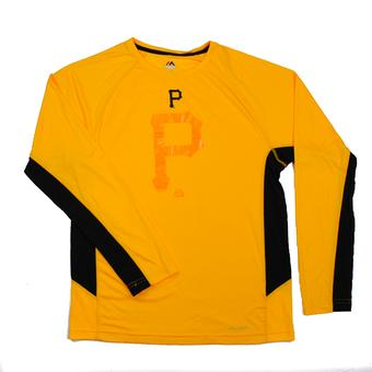 Pittsburgh Pirates Majestic Yellow Batter Runner Cool Base Performance L/S Tee Shirt (Adult M)