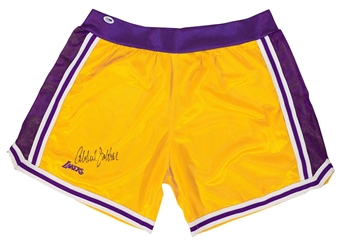 Kareem Abdul Jabbar Autographed Los Angeles Lakers Gold Basketball Shorts (PSA)