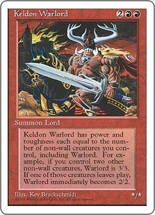 Magic the Gathering 4th Edition Single Keldon Warlord - SLIGHT PLAY (SP)