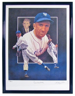 Carl Hubbell Autographed & Framed New York Giants Lithograph