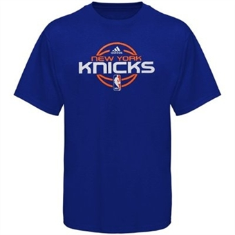 New York Knicks Blue Adidas Team Issue T-Shirt (Size Large)
