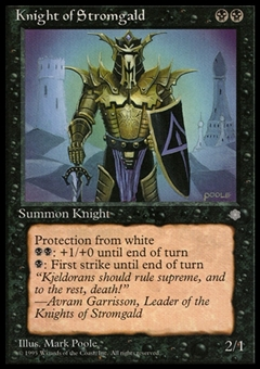 Magic the Gathering Ice Age Single Knight of Stromgald Signed by Mark Poole - SLIGHT PLAY (SP)
