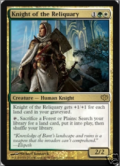 Magic the Gathering Conflux Single Knight of the Reliquary LIGHT PLAY (NM)