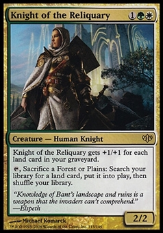Magic the Gathering Conflux Single Knight of the Reliquary FOIL - SLIGHT PLAY (SP)