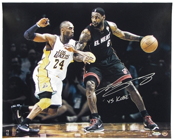 LeBron James Autographed Miami Heat (Versus Kobe Bryant) 16x20 Photograph (Upper Deck)