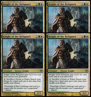 Magic the Gathering Conflux PLAYSET Knight of the Reliquary FOIL NEAR MINT (NM)