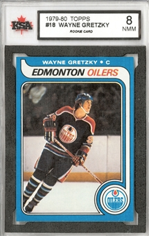 1979/80 Topps Hockey #18 Wayne Gretzky Rookie KSA 8 (NM-MT) *4385