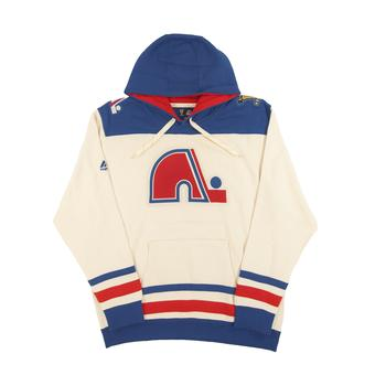 Quebec Nordiques Majestic Beige Vintage Double Minor Fleece Hoodie (Adult L)