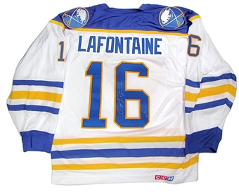Pat LaFontaine Autographed Buffalo Sabres Throwback White Jersey
