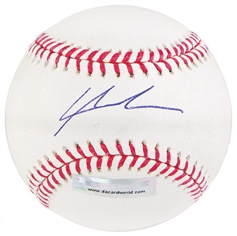 Lars Anderson Autographed Baseball (Slightly Stained) (DACW COA)