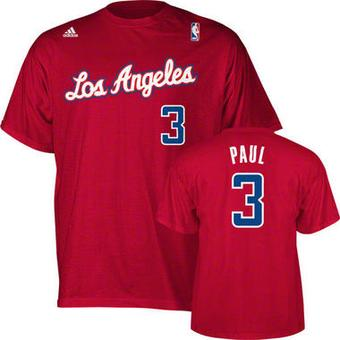 Chris Paul Los Angeles Clippers Red Adidas Gametime T-Shirt (Size Large)