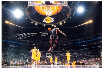 "Lebron James Autographed Miami Heat ""L.A. Lights"" 16x24 Photograph (Upper Deck)"