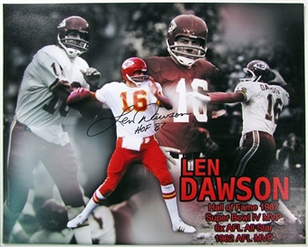 Len Dawson Autographed Kansas City Chiefs 16x20 Football Photo