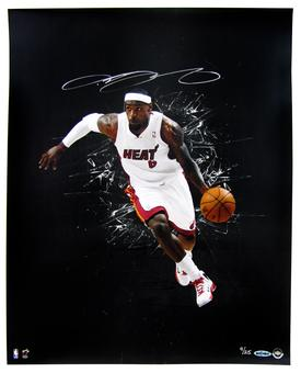 LeBron James Autographed Miami Heat 16x20 Photograph (UDA COA) 9/25
