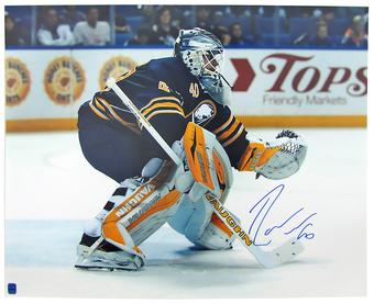 Robin Lehner Autographed Buffalo Sabres 16x20 Blue Jersey Photo