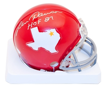 "Len Dawson Autographed Dallas Texans Mini Helmet w/""HOF 87"" Inscription (JSA)"