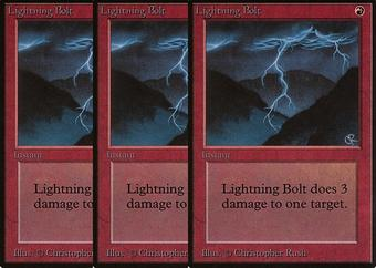 Magic the Gathering Beta 3x LOT Lightning Bolt - NEAR MINT/SLIGHT PLAY (NM/SP)