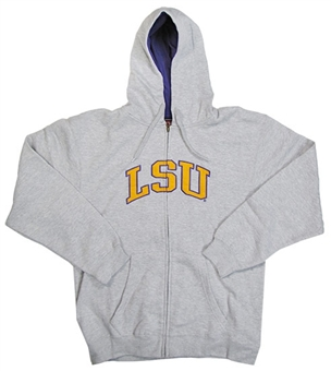 LSU Tigers NCAA Genuine Stuff Grey Full Zip Fleece Hoodie (Size Large)