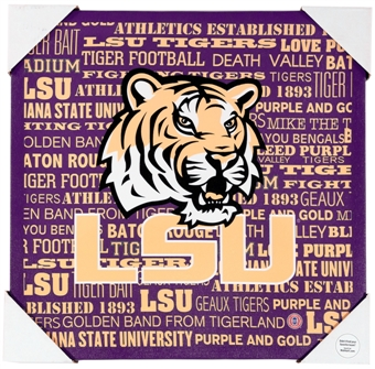 LSU Tigers Artissimo Typography 13x13 Canvas