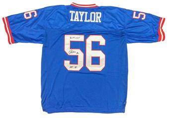 Lawrence Taylor Autographed New York Giants Blue Football Jersey (JSA)