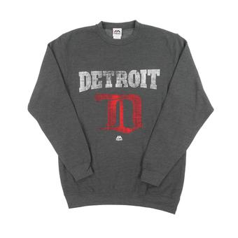 Detroit Red Wings Majestic Gray All About Team Dual Blend Crew Neck Fleece (Adult L)