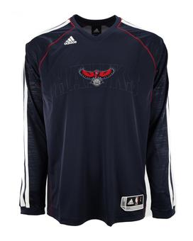 Atlanta Hawks Adidas Navy On Court Shooter Long Sleeve Performance Tee Shirt (Adult L)
