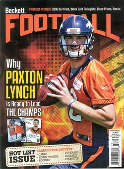 2016 Beckett Football Monthly Price Guide (#309 October) (Paxton Lynch)
