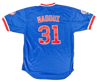 Greg Maddux Autographed Chicago Cubs Blue 300 Wins Baseball Jersey (PSA)