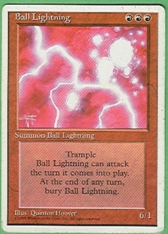 Magic the Gathering 4th Edition Single Ball Lightning - HEAVY PLAY (HP)