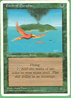 Magic the Gathering 4th Edition Single Birds of Paradise - MODERATE PLAY (MP)