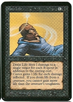 Magic the Gathering Alpha Single Drain Life MODERATE PLAY (VG/EX)