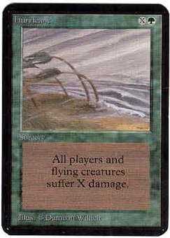 Magic the Gathering Alpha Single Hurricane - SLIGHT PLAY (SP)