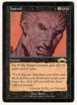 Magic the Gathering Exodus Single Hatred - MODERATE PLAY (MP)