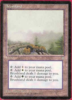 Magic the Gathering Ice Age Single Brushland - SLIGHT PLAY (SP)