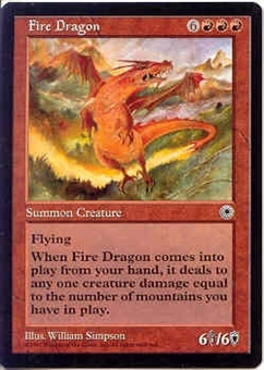 Magic the Gathering Portal 1 Single Fire Dragon - MODERATE PLAY (MP)
