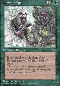 Magic the Gathering Promo Single Giant Badger UNPLAYED (NM/MT)