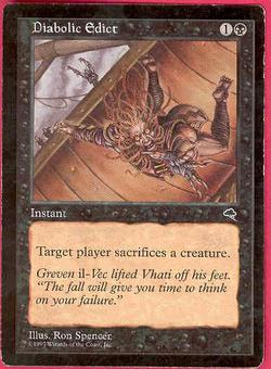 Magic the Gathering Tempest Single Diabolic Edict - SLIGHT PLAY (SP)