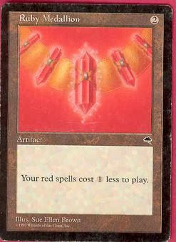 Magic the Gathering Tempest Single Ruby Medallion - MODERATE PLAY (MP)