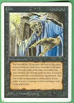 Magic the Gathering Unlimited Single Lich - MODERATE PLAY (MP)